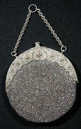 Steel beaded purse, 1870-1880s