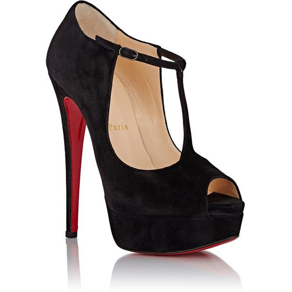 Christian Louboutin Alta Poppins T-Strap Platform Pumps (€940) ❤ liked on Polyvore featuring shoes, pumps, black stilettos, t strap platform pumps, black platform shoes, platform stiletto pumps and high heels stilettos