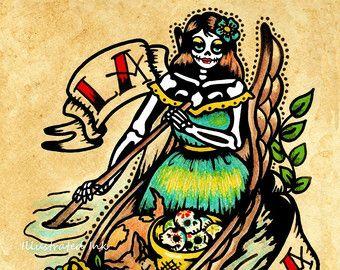 Old School Tattoo Devil Art El DIABLO Loteria by illustratedink