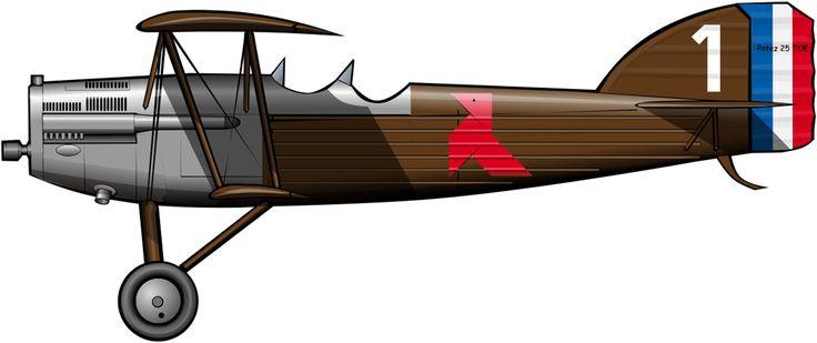 El avión del general Vuillemin en el Crucero negro, identificable por el color rojo de la pajarita y el número 1 pintado en la cola. Nótese que el puesto del ametrallador ha sido sustituido …