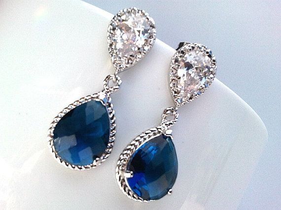 Sapphire Blue Summer Wedding Earrings Drop Dangle by LaLaCrystal, $29.50