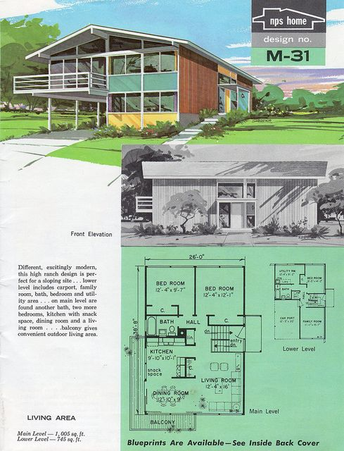 Nps homes of moderate cost design m 31 1963 living for Moderate house plans