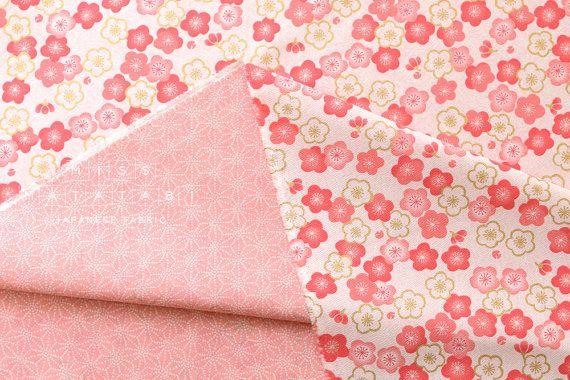 Japanese Fabric reversible ume and asa flowers  by MissMatatabi