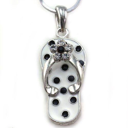Flip-flop Beach Sandal Necklace Charm Pendant White Black Spot Clear Rhinestones Summer Jewelry Soulbreezecollection http://www.amazon.com/dp/B007YCKIAE/ref=cm_sw_r_pi_dp_zkDUub0XZ3GDP