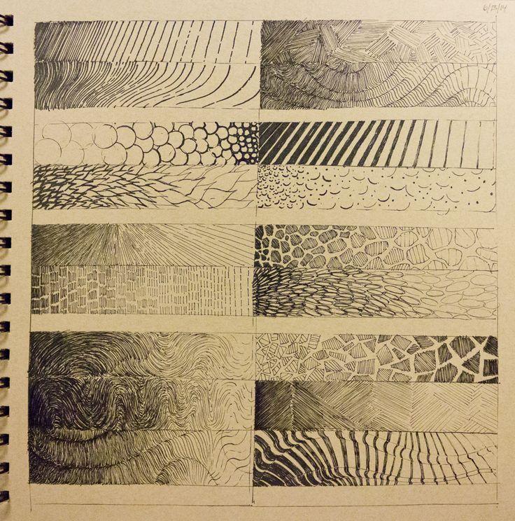 En una hoja tienen que diseñar distintos tipos de textura, tomar como idea, hojas, plumas, rugosidades, piedrecillas, arena, follajes, pasto, arena, etc, etc (con lapiz pasta, gel, tiralinea, grafito u otro disponible)