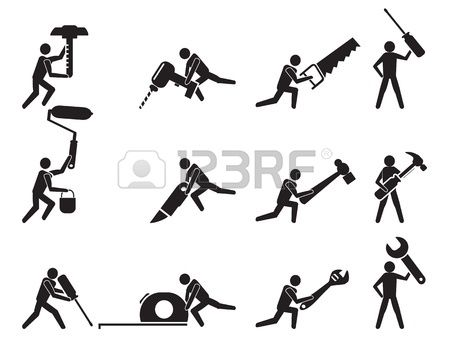 isolated repairman with tools icons set on white background photo