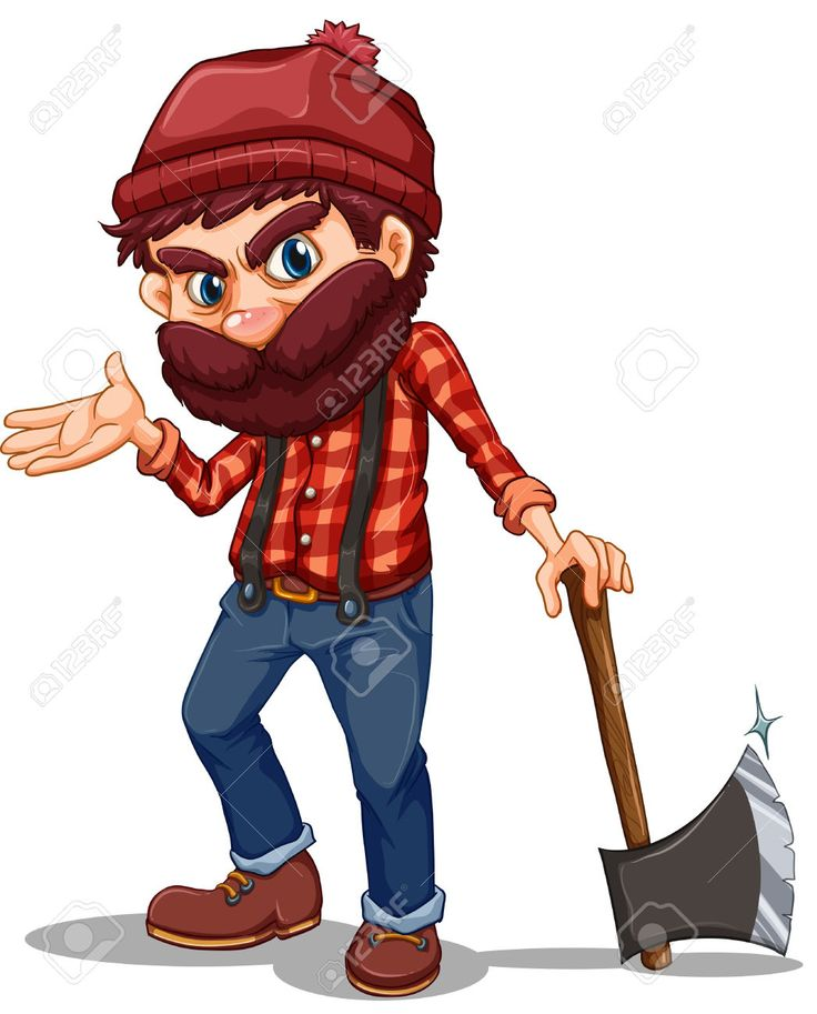 Illustration Of A Lumberjack Holding A Sharp Axe On A White Background Royalty Free Cliparts, Vectors, And Stock Illustration. Image 23816326.