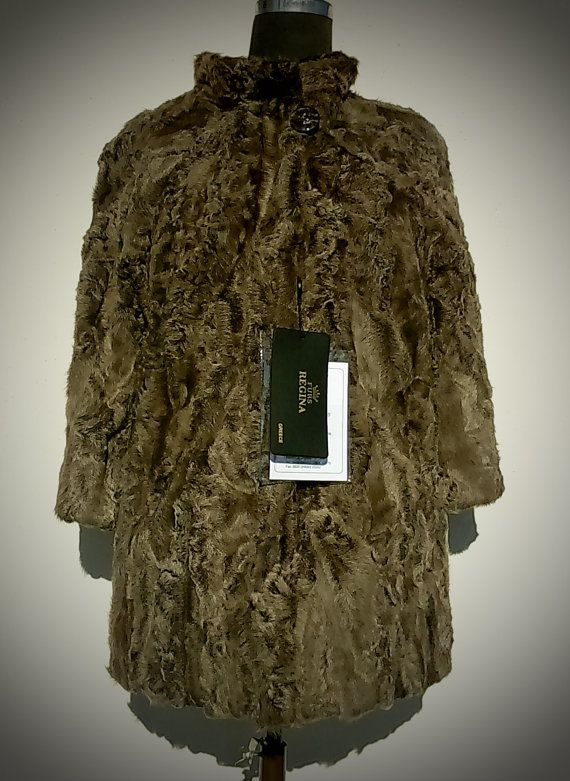 Fur Jacket/ Real fur/ Karakul fur/ Beige color