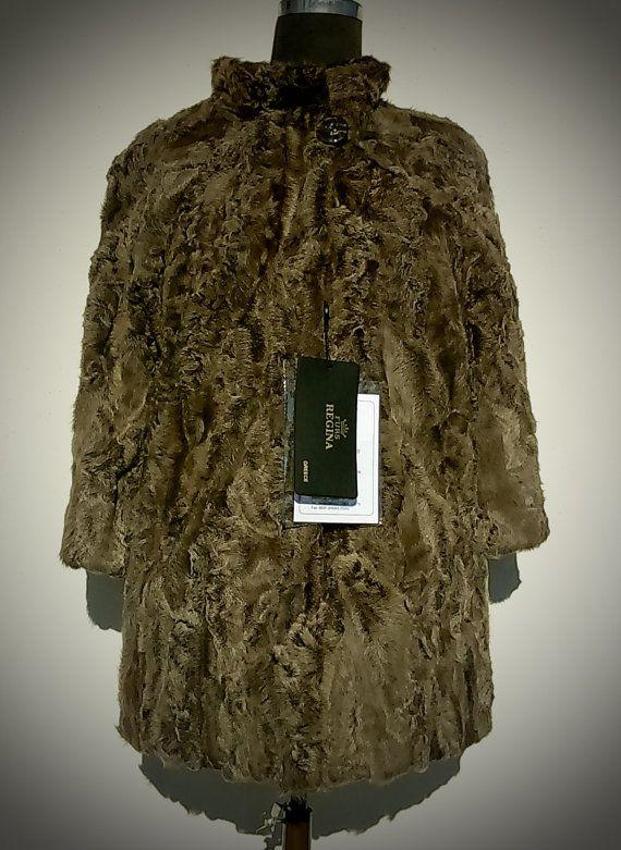 Fur Jacket/ Real fur/ Karakul fur/ Beige color