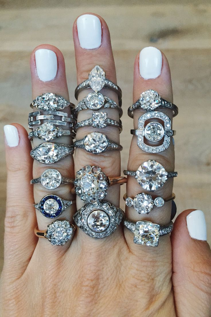 Vintage engagement rings featuring Victorian, Edwardian, and Art Deco rings from Erstwhile Middle finger, second from the top