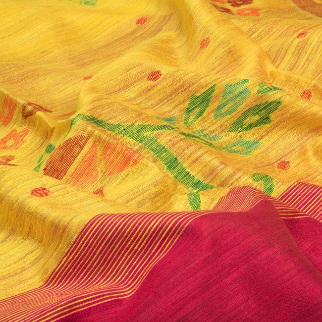 Karomi Bright Sun Yellow Pakhilata Handwoven Jamdani Silk Sari 10000455 - closeup - AVISHYA.COM