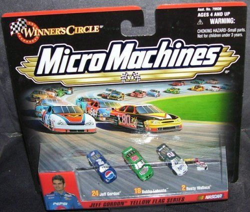 Winners Circle Micro Machines Jeff Gordon Yellow Flag Series Nascar: Jeff Gordon, Bobby Labonte & Rusty Wallace by Hasbro. $5.50. Ages 4 and up. Jeff Gordon, Bobby Labonte, Rusty Wallace. Micromachines Mini Cars. JEFF GORDON YELLOW FLAG SERIES MICROMACHINES WINNER'S CIRCLE NASCAR MINI DIECASTS. From 1999. For ages 4 and up. Comes with #24 Jeff Gordon mini car, #18 Bobby Labonte, #2 Rusty Wallace. Also a mini-flagman figure.