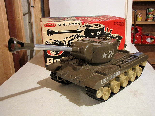 Remco's Bulldog Tank.  Battery operated, shoots projectiles, forward and reverse.  Great for playing outside in the dirt and sand.  1954