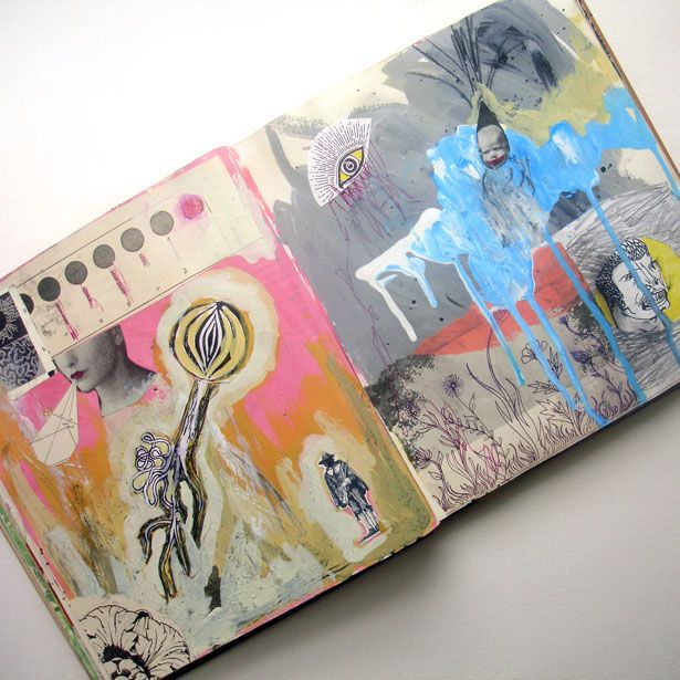 Jon Macnair sketchbook. I love his sketchbooks, which are full of experimentation with collage and paint. Would like to see you try some small versions of these in your book.