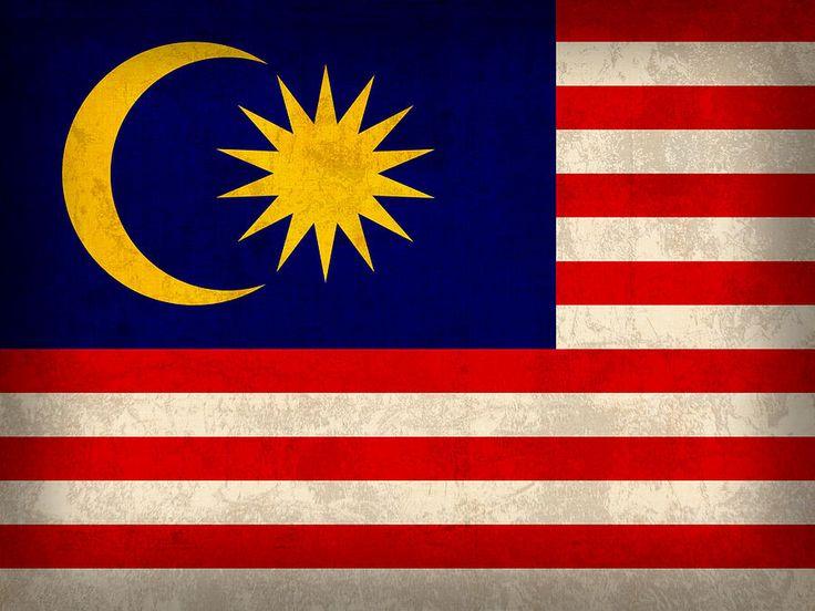 Malaysia Flag Vintage Distressed Finish Mixed Media