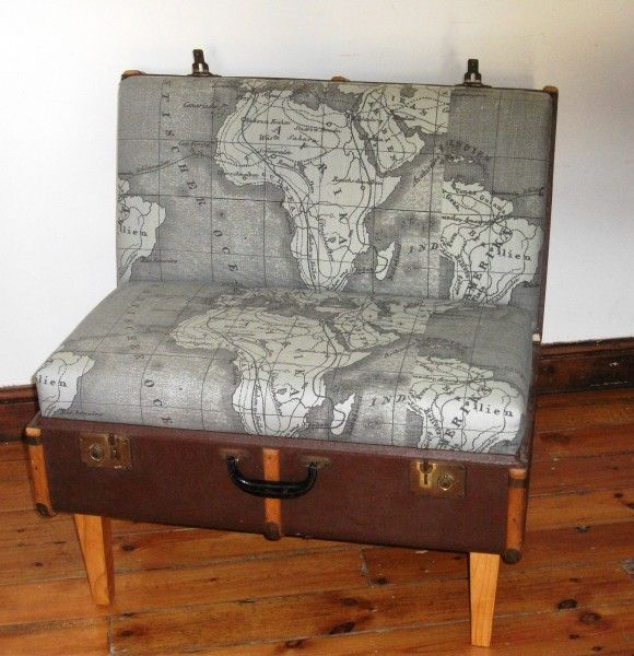 upcycled suitcase seat #seating #upcycled #map