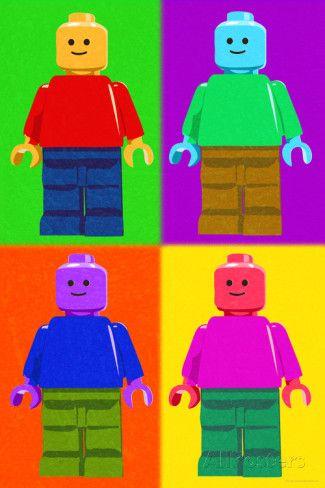 Lego Minifigure Man Quad Pop-Art Indoor/Outdoor Plastic Sign Wall sign at AllPosters.com.  Fun for a Lego party.