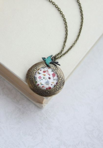 Floral and Bird Necklace. Round Antiqued Brass Floral Locket Jewelry. By Marolsha.