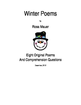 Winter Poems and Questions Printables Poetry for Kids