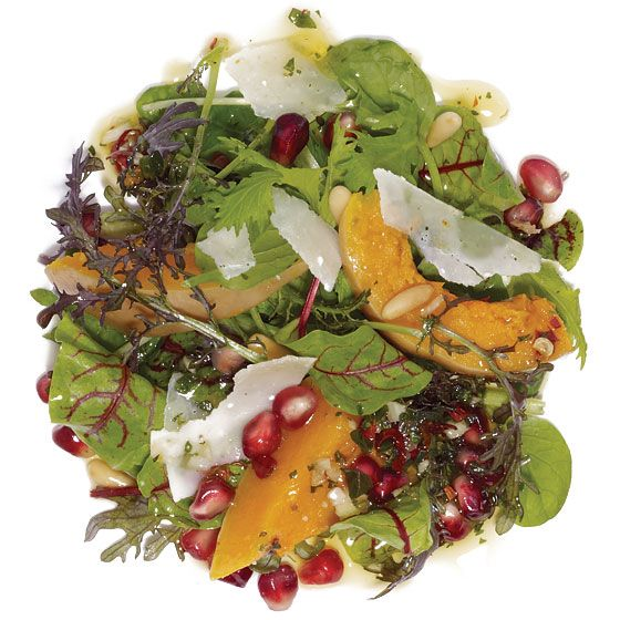 Salad Greens With Roasted Butternut Squash, Pomegranate Seeds, and ...