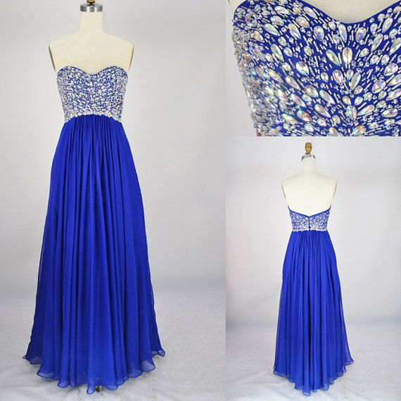 Beach Sweetheart Floor-length Chiffon Beading Blue Long Prom/Evening/Party/Homecoming/Bridesmaid/Cocktail/Formal Dress 2013 New Arrival. $98.00, via Etsy.