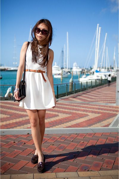 Brown loafers, #brown #sea #beach #whitedress #lebunnybleu