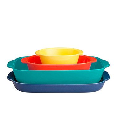 Loving this Four-Piece Multi-Color Bake & Serve Set on #zulily! #zulilyfinds