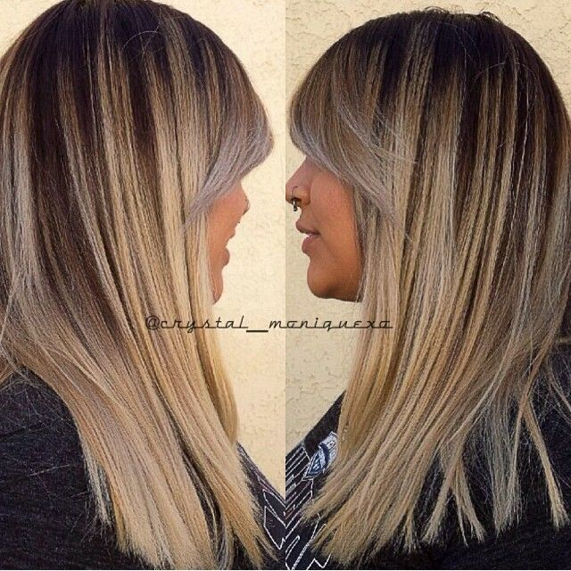 chocolate roots with beige blonde ends and balayage highlights. Black Bedroom Furniture Sets. Home Design Ideas