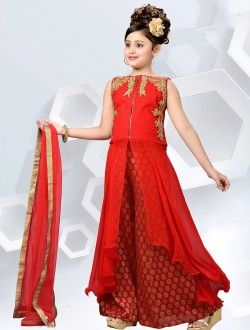 Wedding Wear Red Georgette Embroidered Work Kids Wear Anarkali Suit