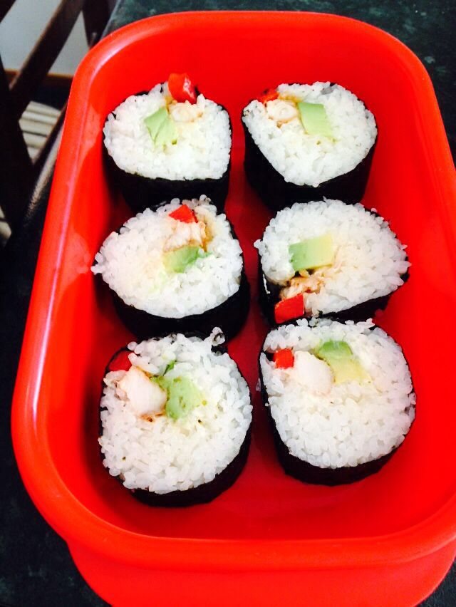 Homemade sushi with free range chicken, sugar free rice, avocado and red capsicum