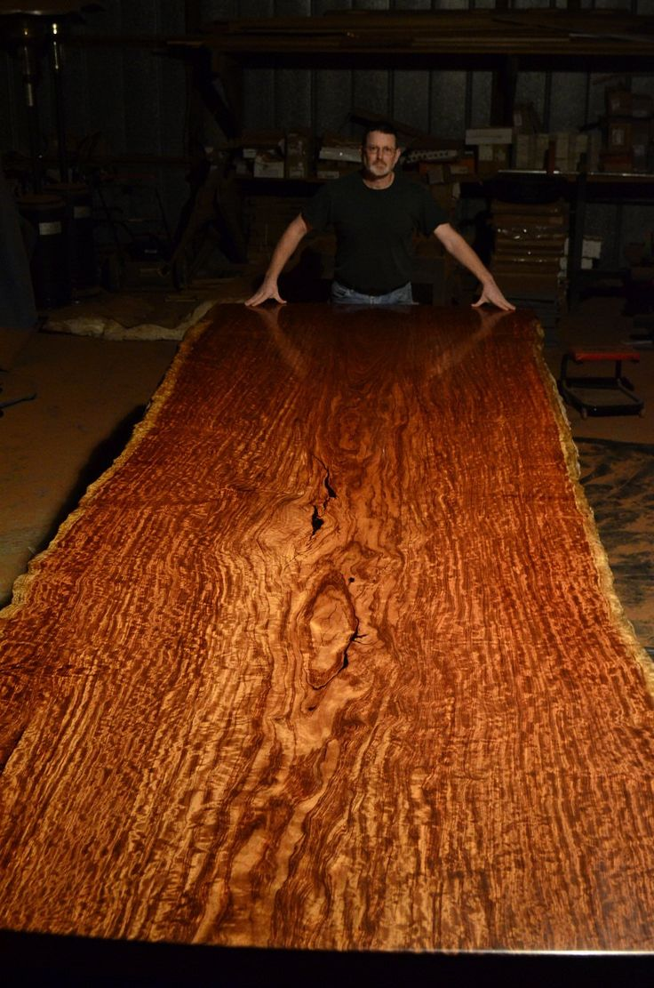 Bubinga Slab Table Long X Wide With Live Edges Thick Finished Table Top  Weighs 900 Lbs.