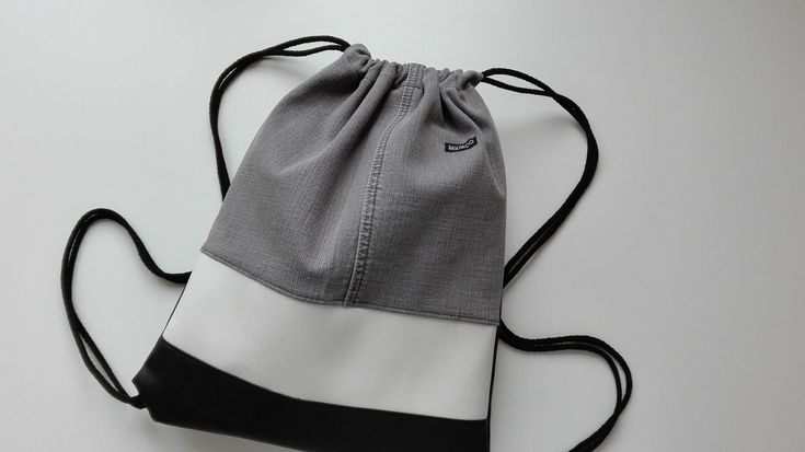 Gray recycled denim, faux leather. This is REKABOO GYMBAG present for Christmas.