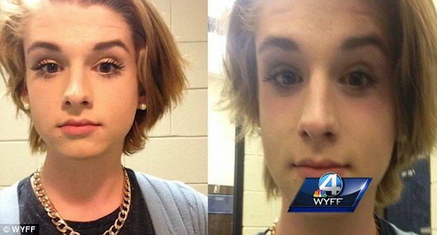 Before and after: Chase Culpepper wore make-up to have his photograph taken (left) but was asked to remove it (right) and complied