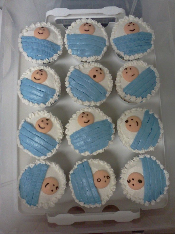 Baby shower cakes with cupcakes boys for Baby boy picture ideas