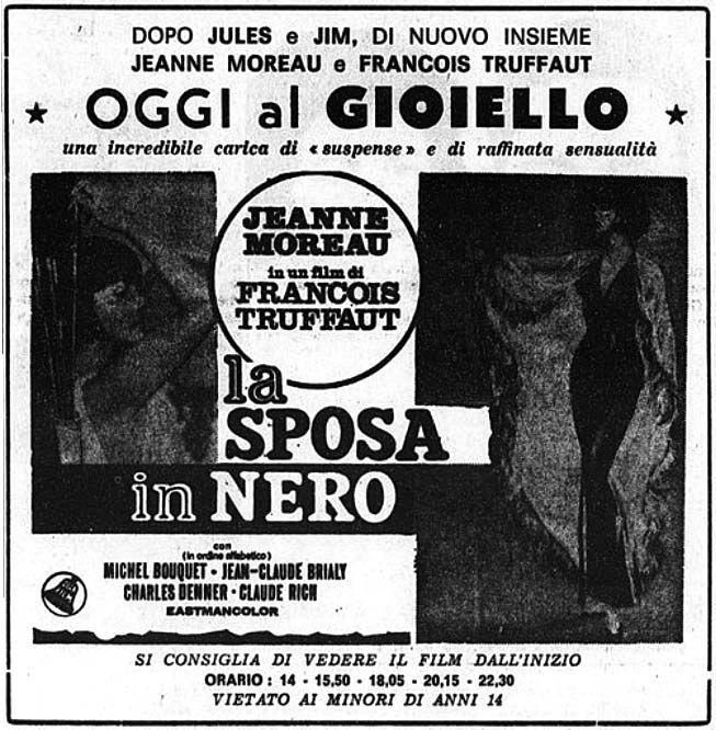 """La sposa in nero"" (La mariée était en noir, 1968) di François Truffaut, con Jeanne Moreau e Jean-Claude Brialy. Italian release: May 22, 1968 #MoviePosters #FrancoisTruffaut #JeanneMoreau"