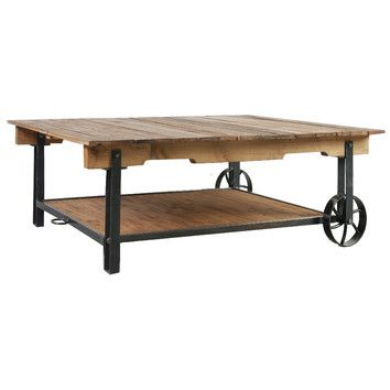 Size 140 X CmAdd Rustic Charm To Your Living Room With Industrial Chic Style Wooden Cart Coffee Table Features Wheels And A Top