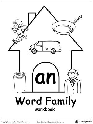 **FREE** AN Word Family Workbook for Kindergarten Worksheet. Topics: Reading, and Word Families.