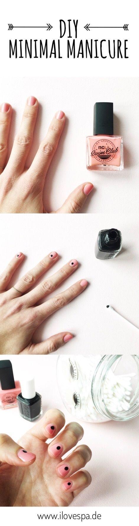 DIY Minimal Manicure – schlichte Maniküre mit Punkten auf I LOVE SPA – Nageldesign schlicht – Maniküre natürlich – #auf #DIY #love #manicure #Manik…