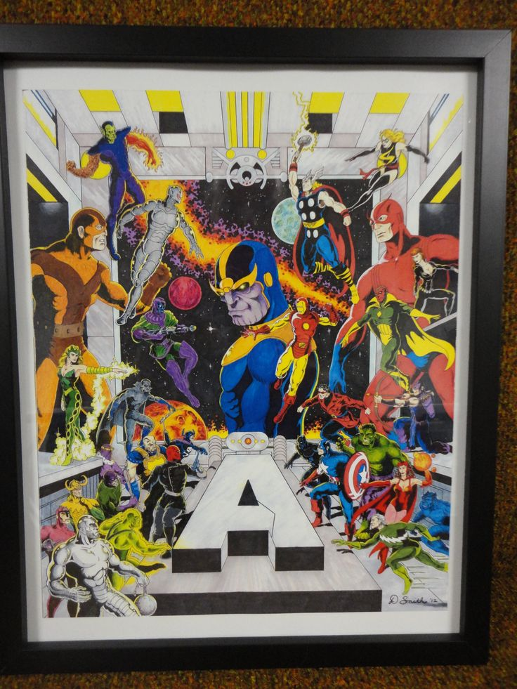 Avengers done with mixed media for the kids.