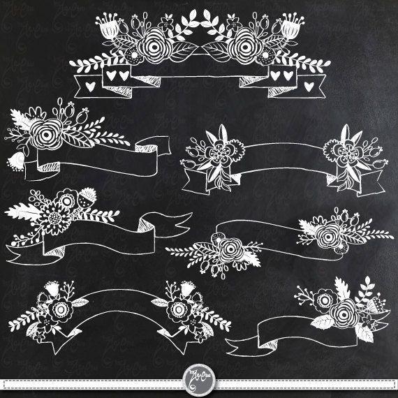 Chalkboard Floral Banners clipart pack CHALKBOARD by YenzArtHaut, $5.00