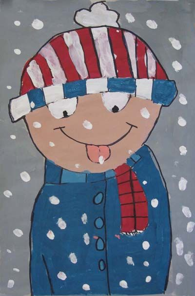Snow Kid Paintings - a fun way to remind kids how to dress for winter and make a painting