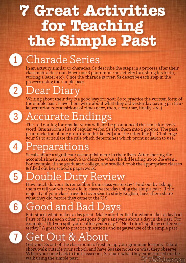 HI-RES POSTER: 7 Great Activities for Teaching the Simple Past. Re-pin if you ❤ it!