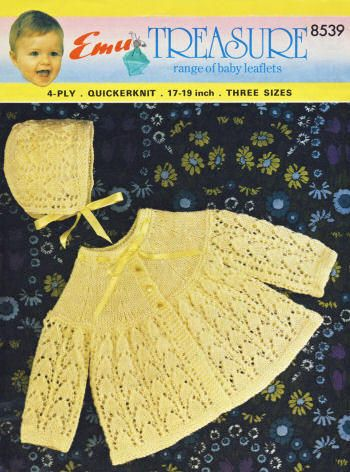 Baby Sweater & Bonnet Vintage Knitting Pattern for download Sz 6-18 mos