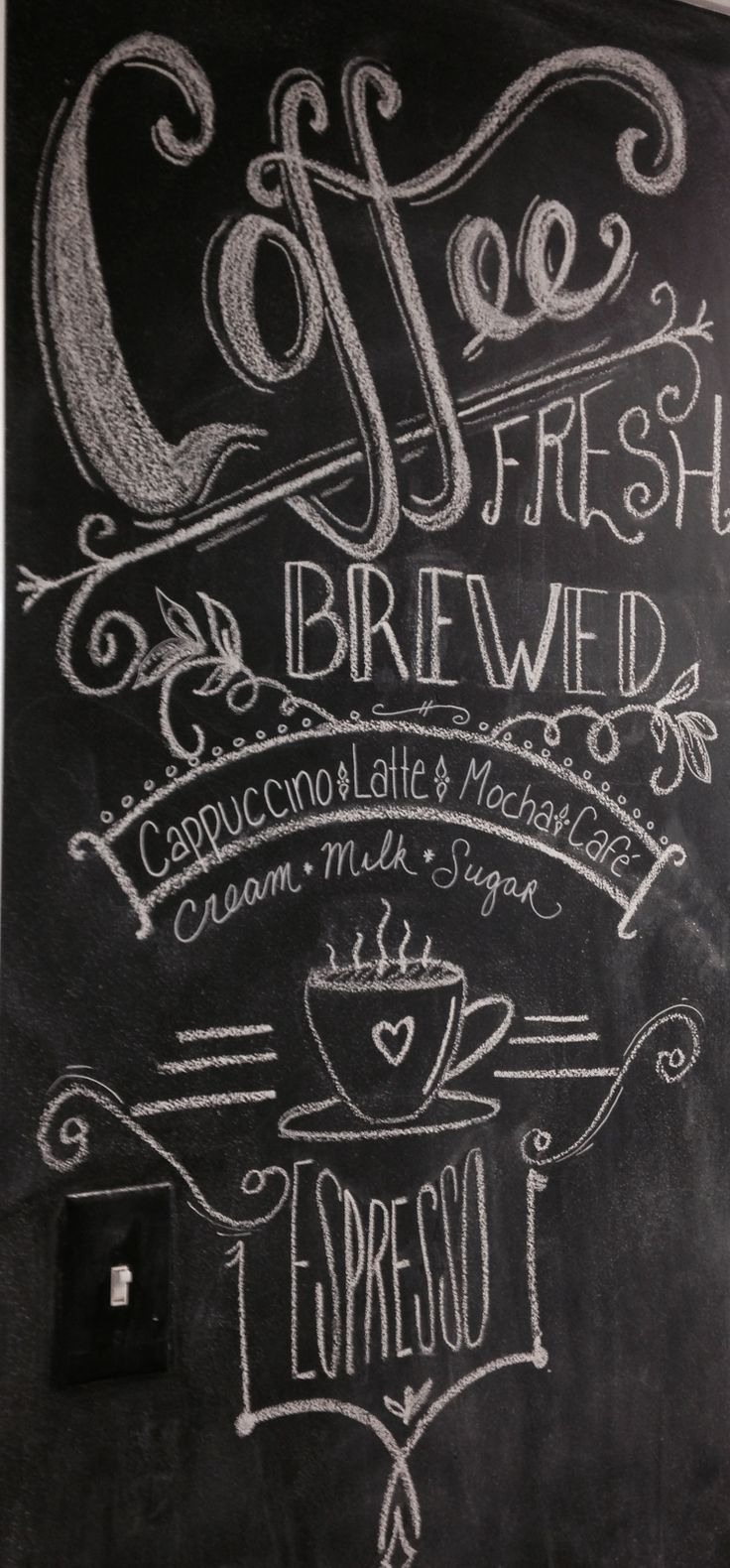 Chalkboard coffee kitchen chalkboard lettering font design chalk sign