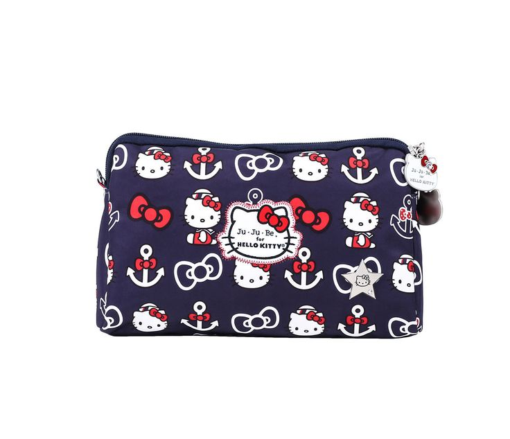 """Ju-Ju-Be x Hello Kitty Summer 2016 Collection """"Be Set"""" Set Of 3 Pouches in Out To Sea (Item # 59634-201607), $50 via Sanrio.Com (View #2 of 4, Detail of Largest Pouch)"""