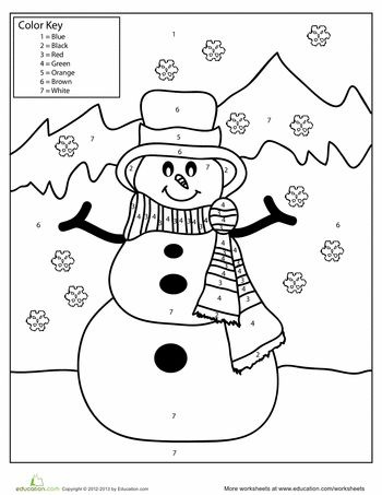Snowman Color by Number Winter