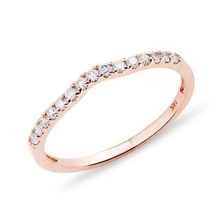 KLENOTA Eternity wedding band adorned with diamonds crafted in 14kt rose gold.