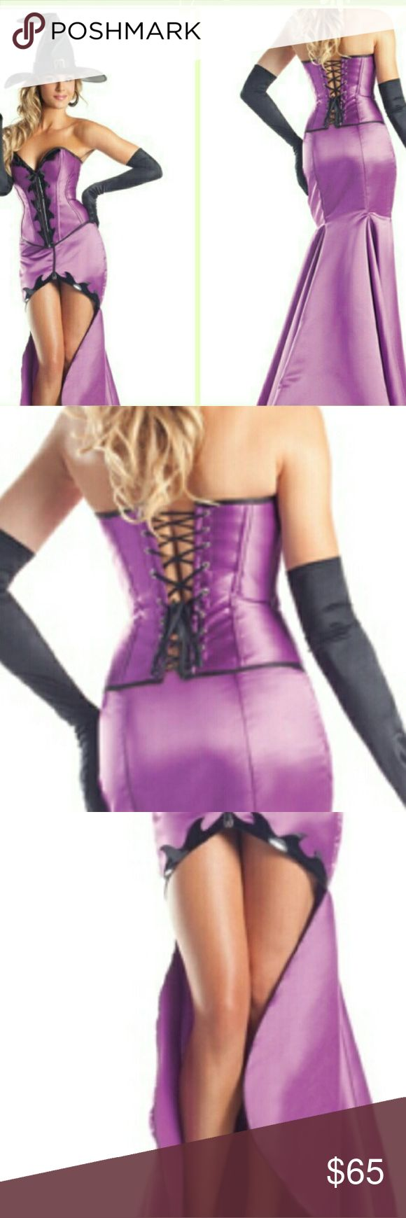 Hocus Pocus Halloween costume Hocus Pocus Honey Costume is a three piece set that features a purple strapless corset top with zipper front, black trim details, lace up back, matching skirt with a high/low hemline and black witch hat. (Gloves not included.)SIZING RUNS SMALL PLEASE SELECT ONE SIZE UP. Bewicked Dresses Maxi