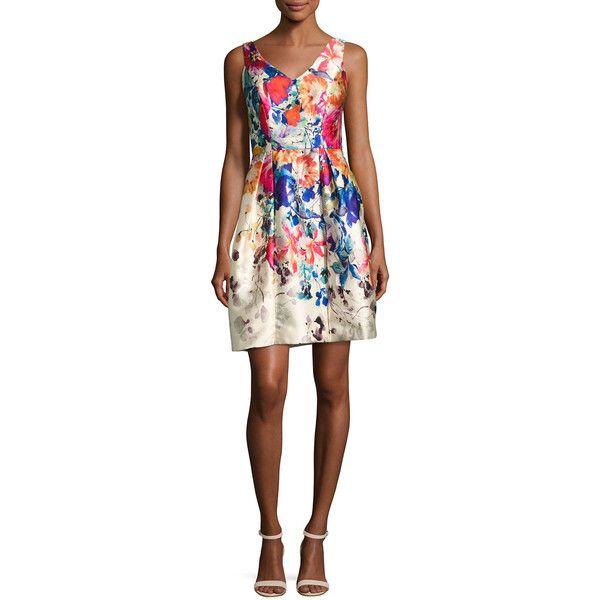 David Meister V-Neck Floral Border-Print Cocktail Dress (685 CAD) ❤ liked on Polyvore featuring dresses, multi, pattern dress, v-neck dresses, v neck fit and flare dress, v neck sleeveless dress and sleeveless fit and flare dress