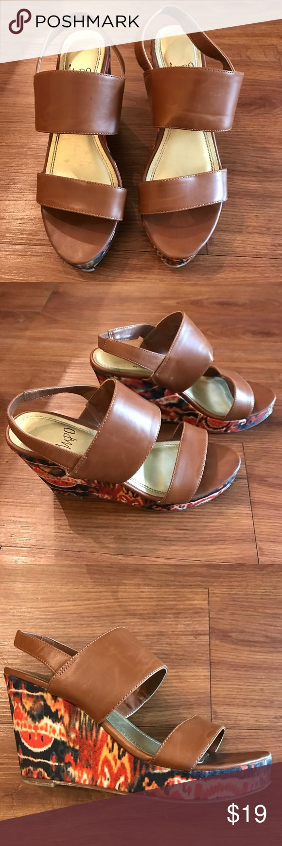 Tan/multi-colored wedges Tan wedges impo Shoes Wedges